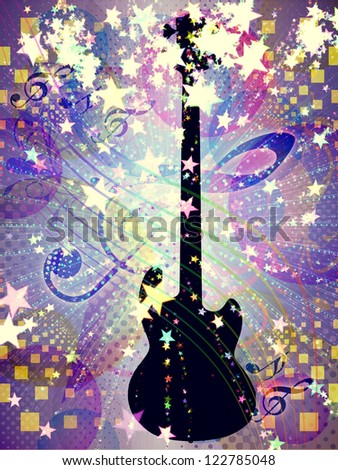 Illustration of abstract colorful funky musical background with guitar.