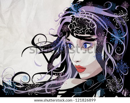 Illustration of abstract grunge portrait of winter girl background.