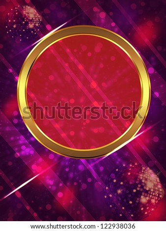 Illustration of abstract music background with disco ball.