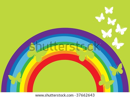 illustration of abstract rainbow and cute butterfly, background ...