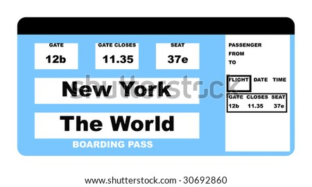 Illustration of airline boarding pass ticket saying New York to the World, isolated on white background.