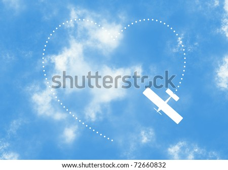 Illustration of Airplane Describing a Heart Over a Realistic Blue Sky