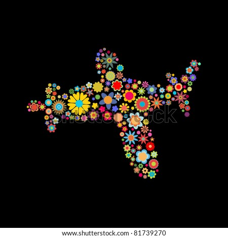 illustration of airplane shape made up a lot of  multicolored small flowers on the black background
