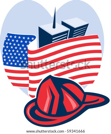 illustration of am unfurled american flag  with world trade center twin tower building in the  background set inside heart