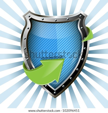 illustration of an abstract metallic blue shield