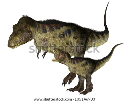 Illustration of an adult and a young Tyrannosaurus (dinosaur species) isolated on a white background