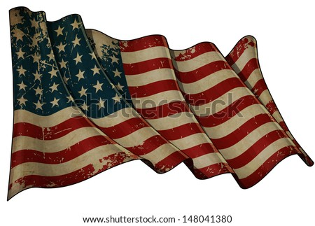 Illustration of an aged, waving US 48 star flag of the period 1912-1959. This design was used by the US in both World Wars and the Korean war.