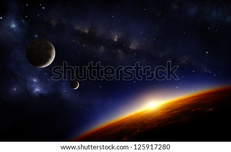 Illustration of an alien planet in space with two moons and the sun setting over its horizon