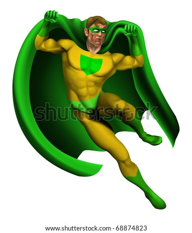 Illustration of an amazing superhero dressed in yellow and green costume with cape landing