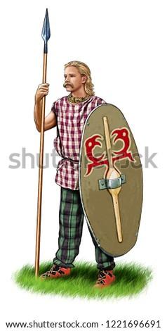 Illustration of an ancient Celt warrior Stock photo ©