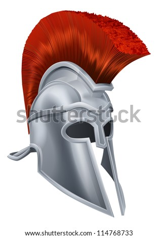 Illustration of an ancient Greek Warrior helmet, Spartan helmet, Roman helmet or Trojan helmet.