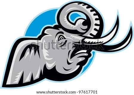 Illustration of an angry African elephant head with big tusk set inside circle done in retro style.