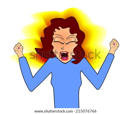 Illustration of an Angry Woman with Fists Clenched
