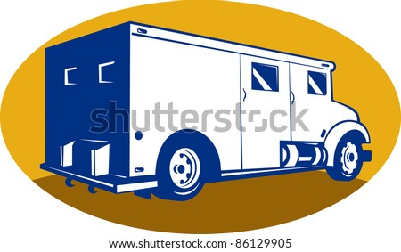 illustration of an armored car viewed from rear right side set inside an ellipse