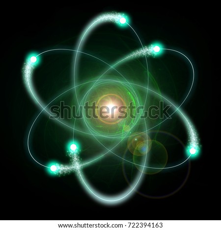 Illustration of an atom. The nucleus is surrounded by rotating electrons.