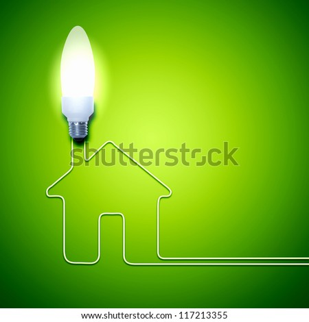 Illustration of an electric light bulb with a house. Conceptual illustration