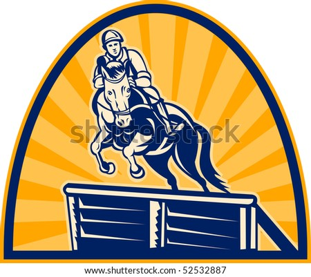 illustration of an equestrian show jumping with horse with sunburst in the background.