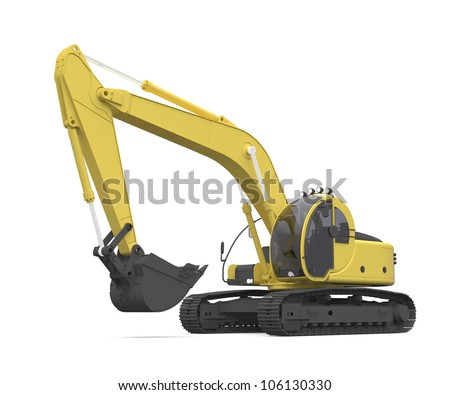 illustration of an excavator. Hi-res 3D Digitally generated image.