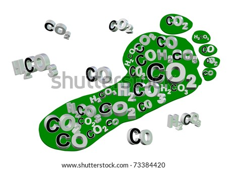 Illustration of an expression, carbon footprint. Footprint is filled with carbon compounds / Carbon footprint