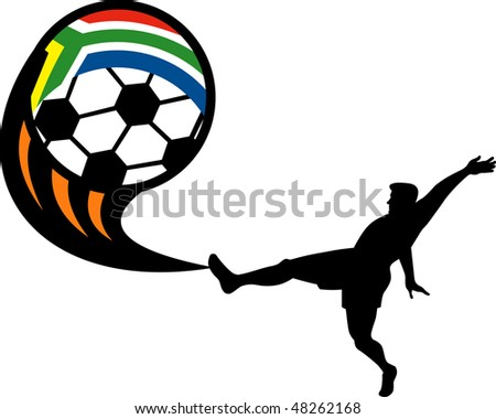 illustration of an icon for 2010 soccer world cup with player kicking ball with flag of republic of south africa