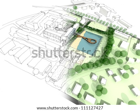 Illustration of an idea and implementation of urban design Сток-фото ©
