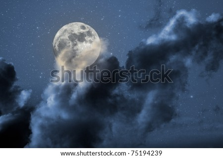 Illustration of an interesting full moon in a starry night with some clouds