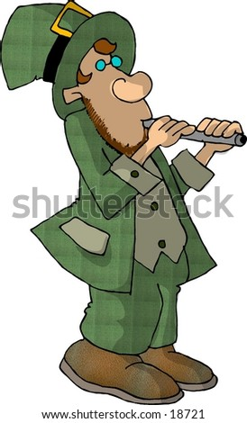 Illustration of an Irish Leprechaun playing a flute.
