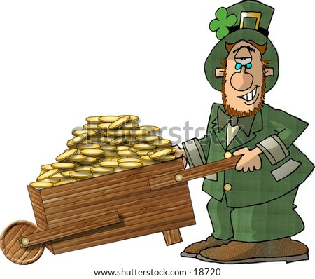 Illustration of an Irish Leprechaun pushing a wheelbarrow full of gold coins.