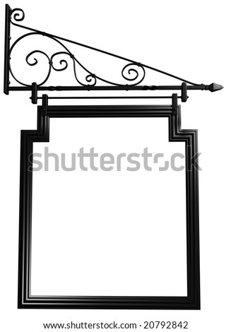 Illustration of an isolated blank pub sign