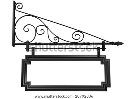Illustration of an isolated blank shop sign