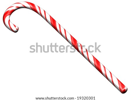 Illustration of an isolated red and white striped candy cane #19320301