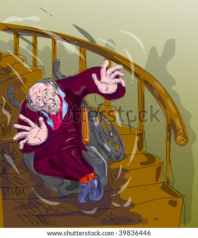 illustration of an old man falling down the stairs