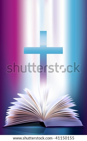 Illustration of an open flicking bible pages  and cross