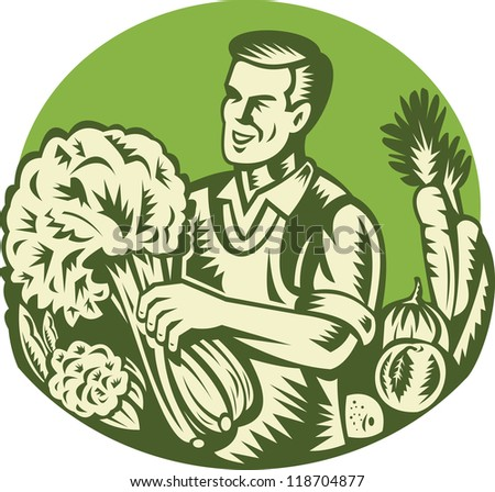 Illustration of an organic farmer green grocer harvesting green leafy vegetables set inside circle done retro woodcut style.