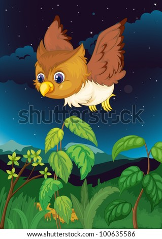 Illustration of an owl at night - EPS VECTOR format also available in my portfolio.