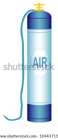 Illustration of an oxygen cylinder with a hose on a white background - stock photo