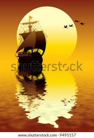 Illustration of ancient ship sailing to the sun