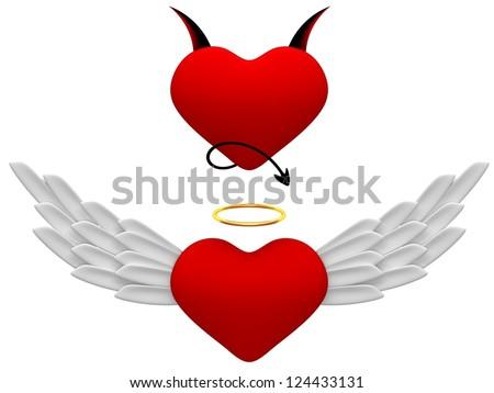 Illustration of angel and devil hearts