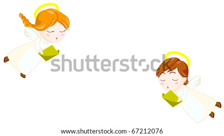 illustration of angels kids singing and flying. clipping path included.