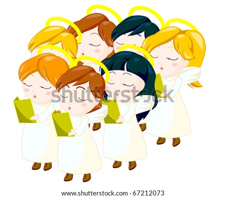 illustration of angels kids singing carols.clipping path included.