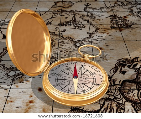 Illustration of antique compass on a old map