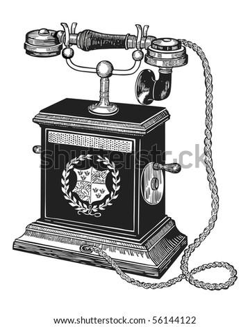 Illustration of antique telephone isolated on white