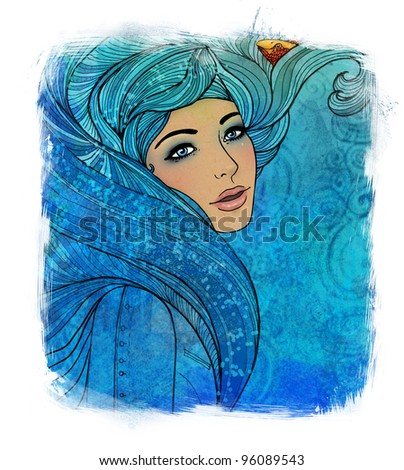 Illustration of aquarius astrological sign as a beautiful girl