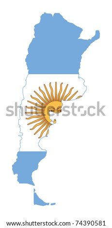 Illustration of Argentina flag on map of country; isolated on white background.