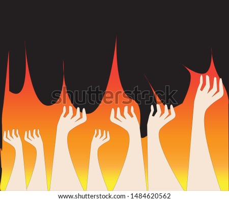 illustration of arms.Many arms were burnt.