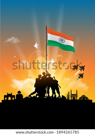 illustration of Army day of India, Republic day background with soldiers hold up Indian flag, saluting, parade, celebration and kite flying Сток-фото ©