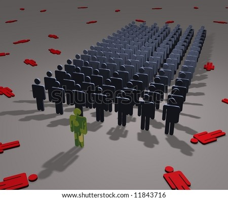 Illustration of army volunteers and casualties of war - stock photo