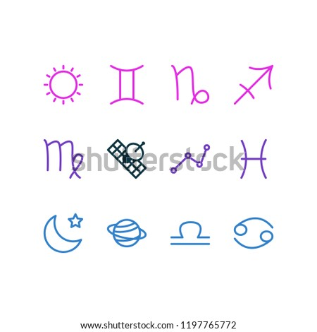 illustration of 12 astrology icons line style. Editable set of sputnik, cancer, virgo and other icon elements.