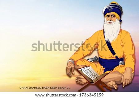 Illustration  of Baba Deep Singh ji.