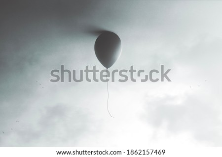 illustration of balloon flying at the end of the sky, surreal minimal concept